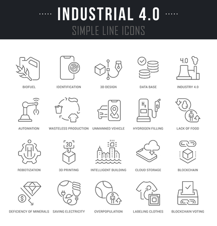 Set of linear icons of industrial 4.0 with names. Çizim
