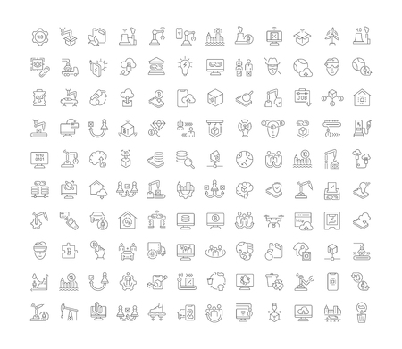 Set of vector line icons of industrial 4.0 for modern concepts, web and apps. Çizim