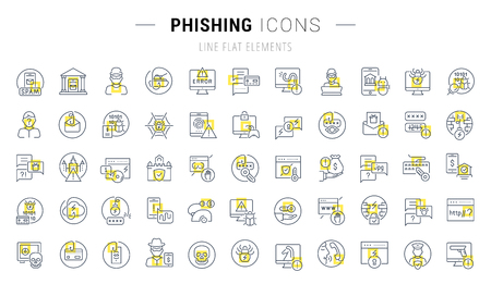 Set of vector line icons and signs with yellow squares of phishing for excellent concepts. Collection of infographic and pictogram..