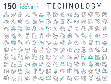 Set of vector line icons of technology for modern concepts, web and apps. Vecteurs