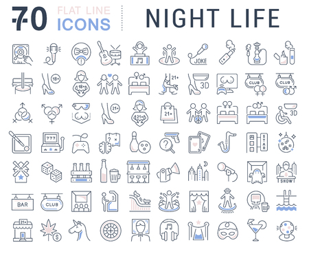 Set of vector line icons of night life for modern concepts, web and apps. Sex communities, attractions, shows, bars, pubs, parties, smoking, dancing, quests, carnivals, computer clubs, music concerts. Vector Illustration