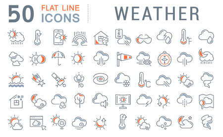Set of vector line icons of weather for modern concepts, web and apps. 矢量图像