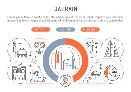 Bannière linéaire de Bahreïn. Attractions dans le pays. Icônes pour sites Web et applications. Vecteurs