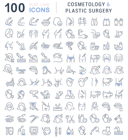 Set of vector line icons of cosmetology and plastic surgery for modern concepts, web and apps. Ilustração