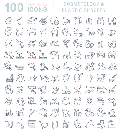 Set of vector line icons of cosmetology and plastic surgery for modern concepts, web and apps.