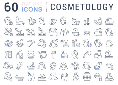 Set of vector line icons of cosmetology for modern concepts, web and apps.