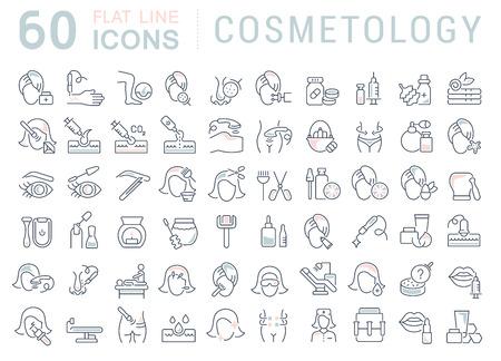Conjunto de iconos de línea de vector de cosmetología para aplicaciones, web y conceptos modernos.