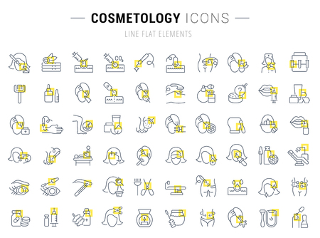 Set of vector line icons and signs with yellow squares of cosmetology for excellent concepts. Ilustrace