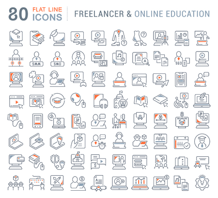 Set of vector line icons of freelancer and online education for modern concepts, web and apps. Illustration