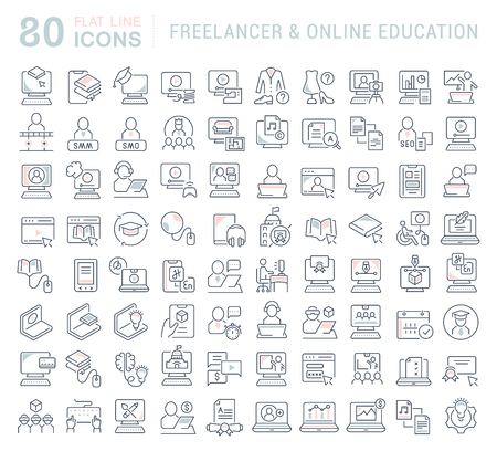 Set of vector line icons of freelancer and online education for modern concepts, web and apps. Vettoriali