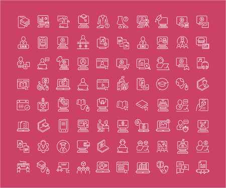 Collection of line white icons of freelancer and online education. Set of vector simple elements with bold outlines on a color background. Vettoriali