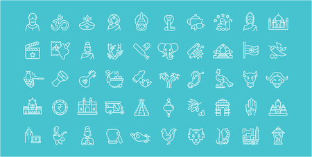Collection of line white icons of India. Set of vector simple elements with bold outlines on a color background. Vettoriali