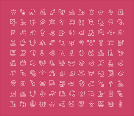Collection of line white icons of industrial 4.0. Set of vector simple elements with bold outlines on a color background.