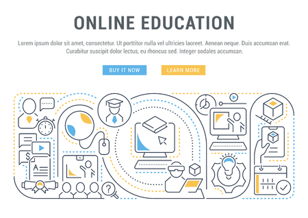 Linear banner of the online education. Icons for websites and applications. Illustration