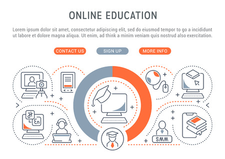 Linear banner of the online education. Icons for websites and applications. Illusztráció
