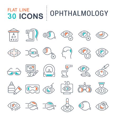 Ensemble d'icônes de ligne vectorielle d'ophtalmologie pour les concepts modernes, le web et les applications.