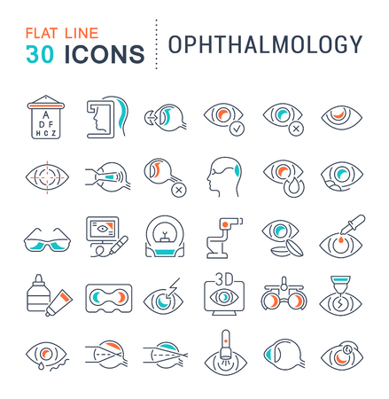 Set of vector line icons of ophthalmology for modern concepts, web and apps. Çizim