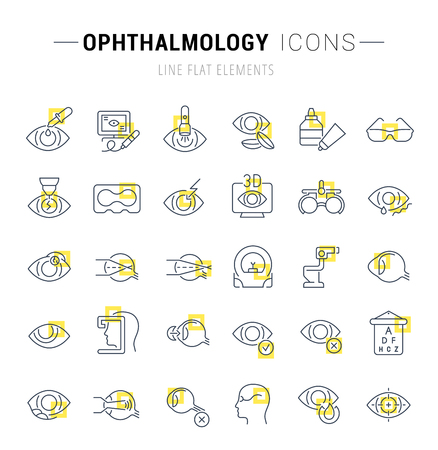 Set of vector line icons and signs with yellow squares of ophthalmology for excellent concepts.