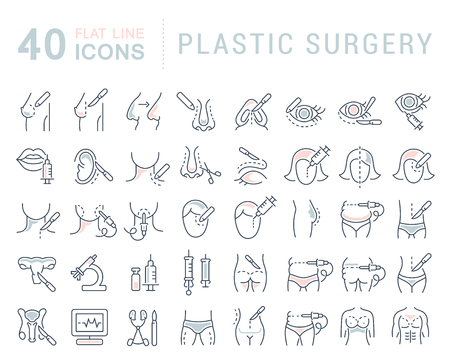 Set of vector line icons of plastic surgery for modern concepts, web and apps. Illustration