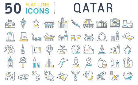 Set of vector line icons of Qatar for modern concepts, web and apps.