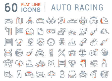 Set of vector line icons of auto racing for modern concepts, web and apps. Vektorové ilustrace