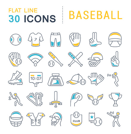 Conjunto de iconos de líneas vectoriales de béisbol para aplicaciones, web y conceptos modernos.