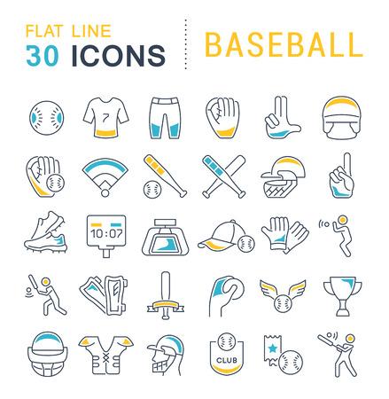 Set di icone della linea vettoriale del baseball per concetti moderni, web e app.