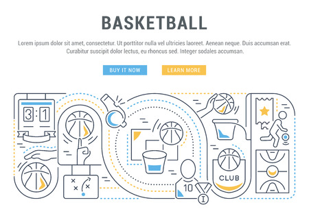 Linear banner of the basketball. Vector linear icons for web sites and applications.