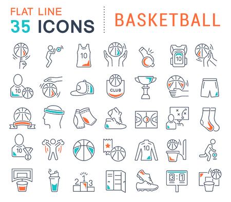 Conjunto de iconos de línea de vector de baloncesto para aplicaciones, web y conceptos modernos. Ilustración de vector