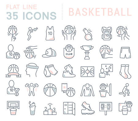Set of vector line icons of basketball for modern concepts, web and apps.