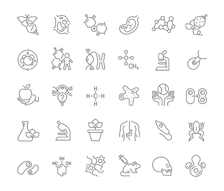 Set of vector line icons of biology for modern concepts, web and apps.