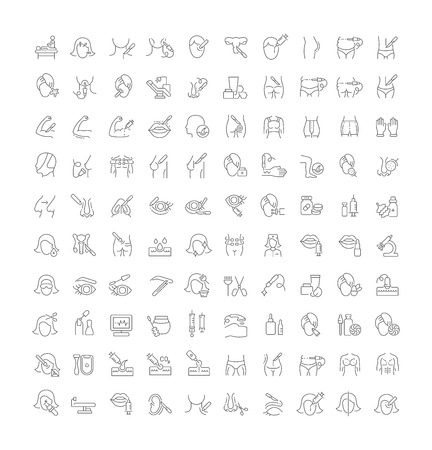 Set of vector line icons of cosmetology and plastic surgery for modern concepts, web and apps. Vector Illustration