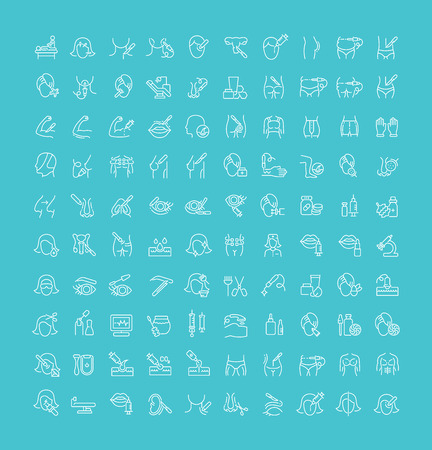 Collection of line white icons of cosmetology and plastic surgery. Set of vector simple elements with bold outlines on a color background