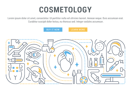 Linear banner of the cosmetology. Icons for web sites and applications. Ilustração