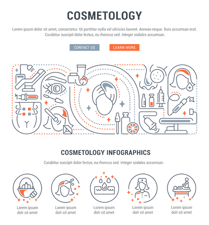 Linear banner of the cosmetology. Icons for web sites and applications. Illustration