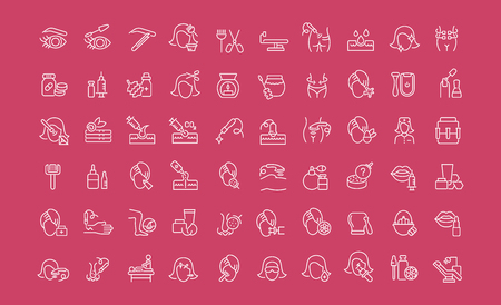 Collection of line white icons of cosmetology. Set of vector simple elements with bold outlines on a color background. Illustration