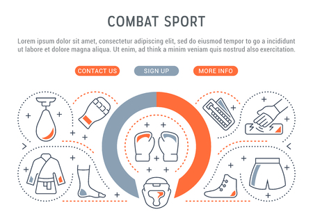 Linear banner of the combat sport. Vector linear icons for web sites and applications.