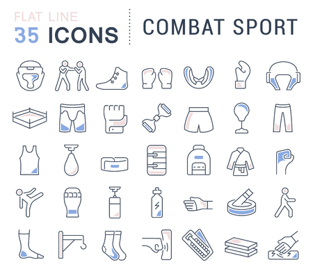 Set of vector line icons of combat sport for modern concepts, web and apps.