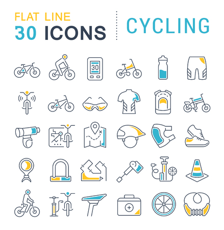 Set of vector line icons of cycling for modern concepts, web and apps. Imagens - 120737301