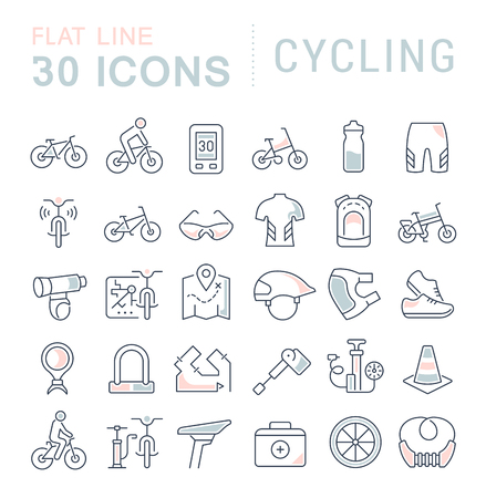 Set of vector line icons of cycling for modern concepts, web and apps.
