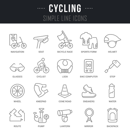 Collection linear icons of cycling with names. Ilustração