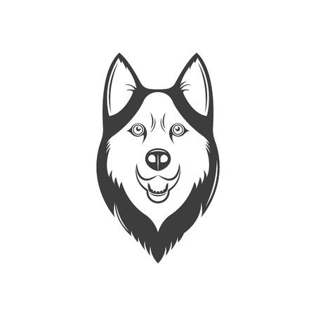 The vintage logotype of a dog. Illustration of husky. Standard-Bild - 120737313