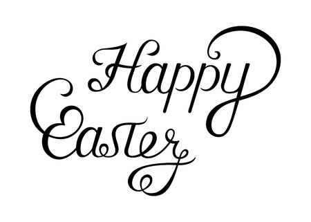 Happy Easter lettering, greeting card and typographical background.