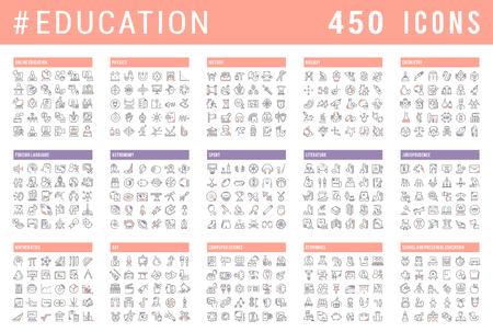 Collection of vector line icons of education. Natural and mathematical science, additional education, tutorship, freelance. Set of flat signs and symbols for web and apps. Çizim
