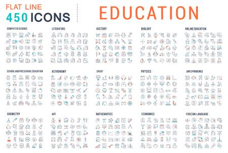 Colección de iconos de líneas vectoriales de educación. Ciencias naturales y matemáticas, educación adicional, tutoría, autónomo. Conjunto de signos y símbolos planos para web y aplicaciones.