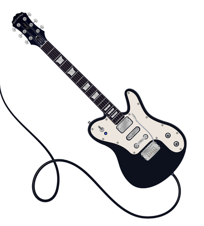 Vector illustration of six-string electric guitar on white background.