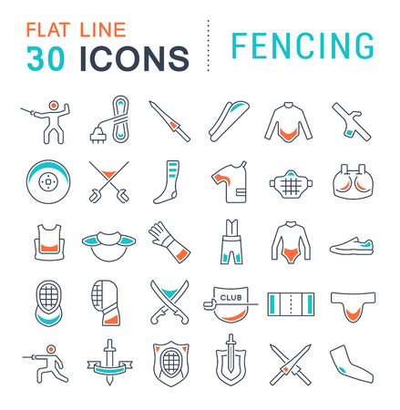 Set of vector line icons of fencing for modern concepts, web and apps.