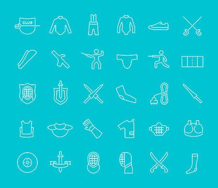 Collection of line white icons of fencing. Set of vector simple elements with bold outlines on a color background. Info graphics signs and pictograms. Illustration