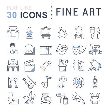 Conjunto de iconos de líneas vectoriales de bellas artes para aplicaciones, web y conceptos modernos.