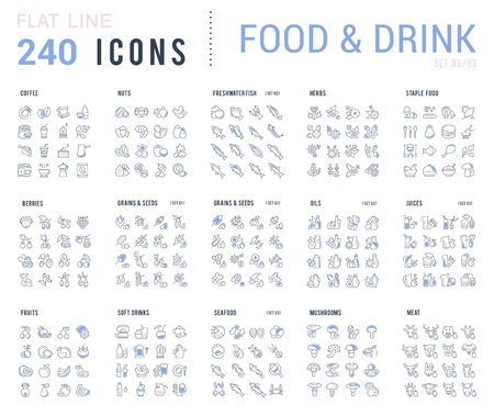 Big collection of linear icons. Set of food & drinks. Sweets, meat, dairy, bakery, cheese, eggs, dishes, fast food, vegetables, spices, seafood, tea, alcohol, fruits, herbs, coffee, leaf, and others. Stock Illustratie